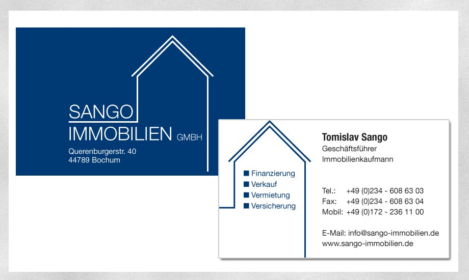 Design Visitenkarte Sango Immobilien