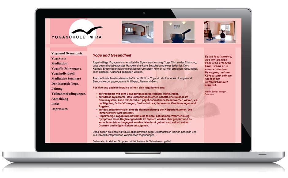 Webdesign Webseite Yogaschule Mira, Essen