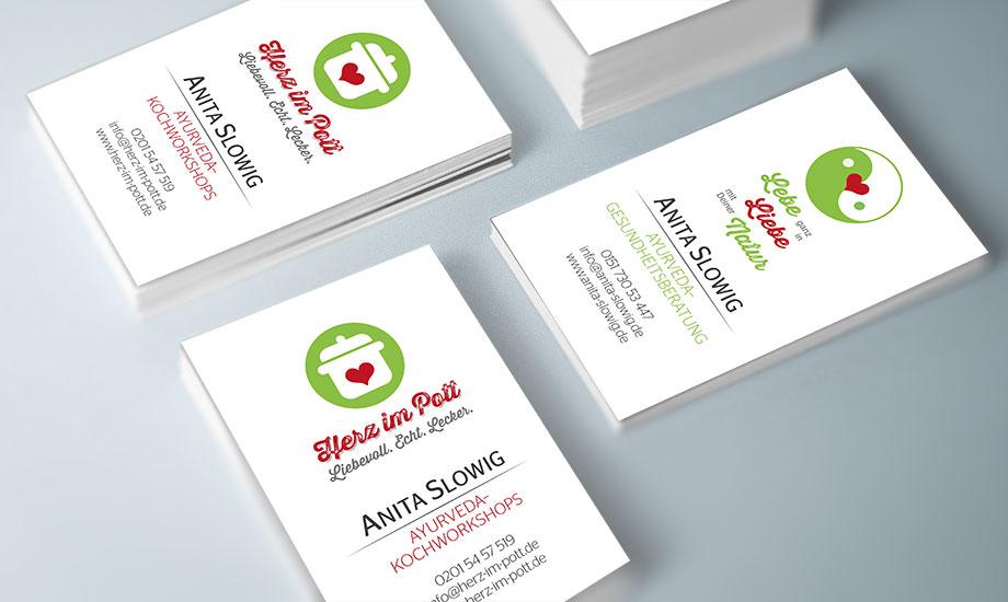 Business cards Herz im Pott und Ayurveda Gesundheitsberatung